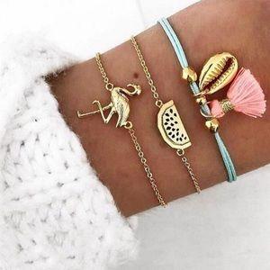 Tropical Themed 🌴🐚🍍 bracelet set - NWT